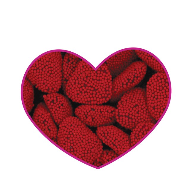 (G) RED RASPBERRY HEARTS